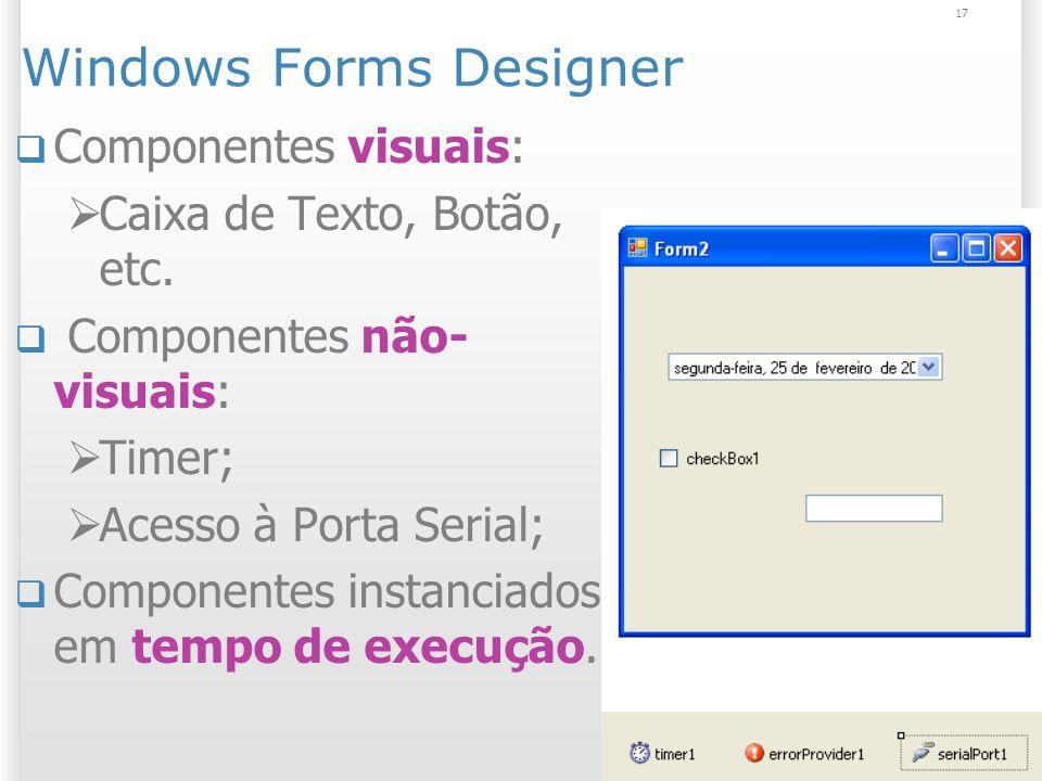 17 Windows Forms Designer Componentes visuais: Caixa de Texto, Botão, etc.