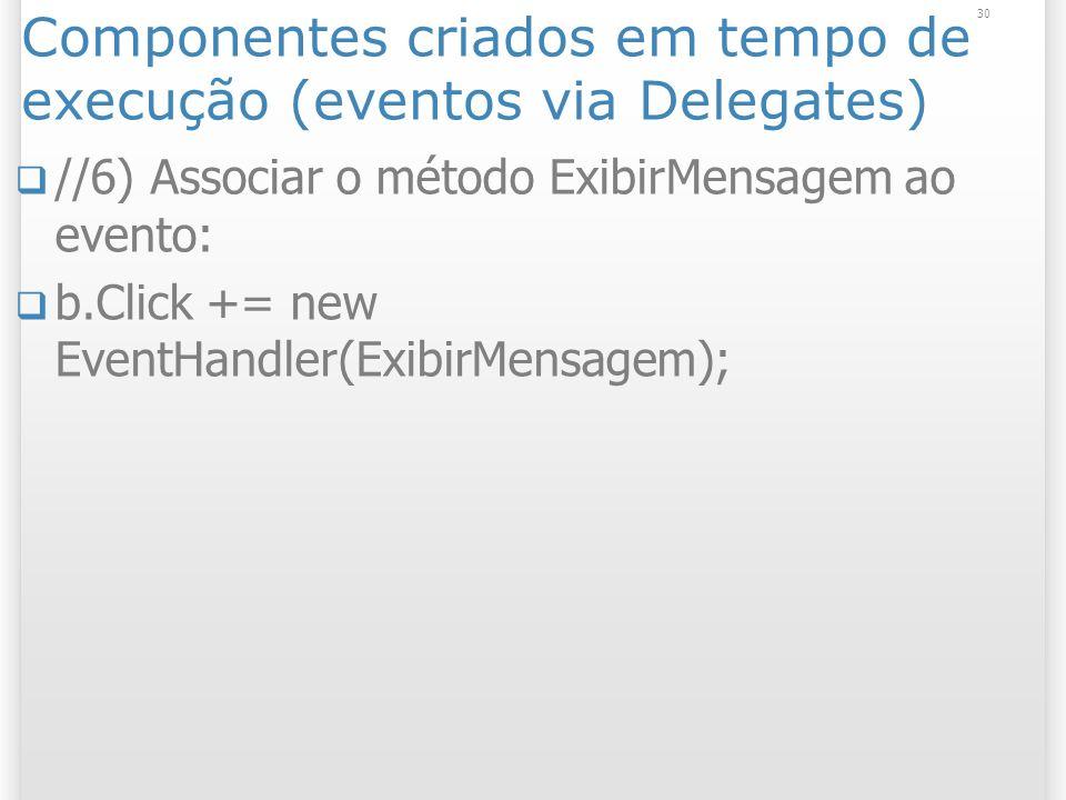 30 Componentes criados em tempo de execução (eventos via Delegates) //6) Associar o método ExibirMensagem ao evento: b.Click += new EventHandler(ExibirMensagem);