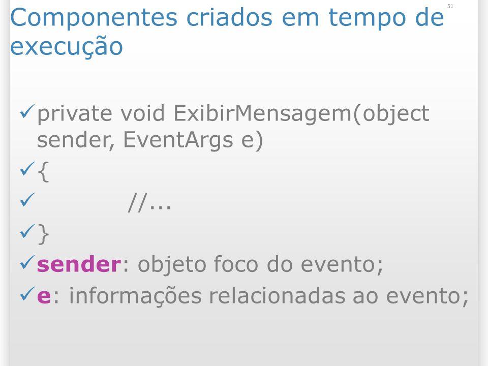 31 Componentes criados em tempo de execução private void ExibirMensagem(object sender, EventArgs e) { //...
