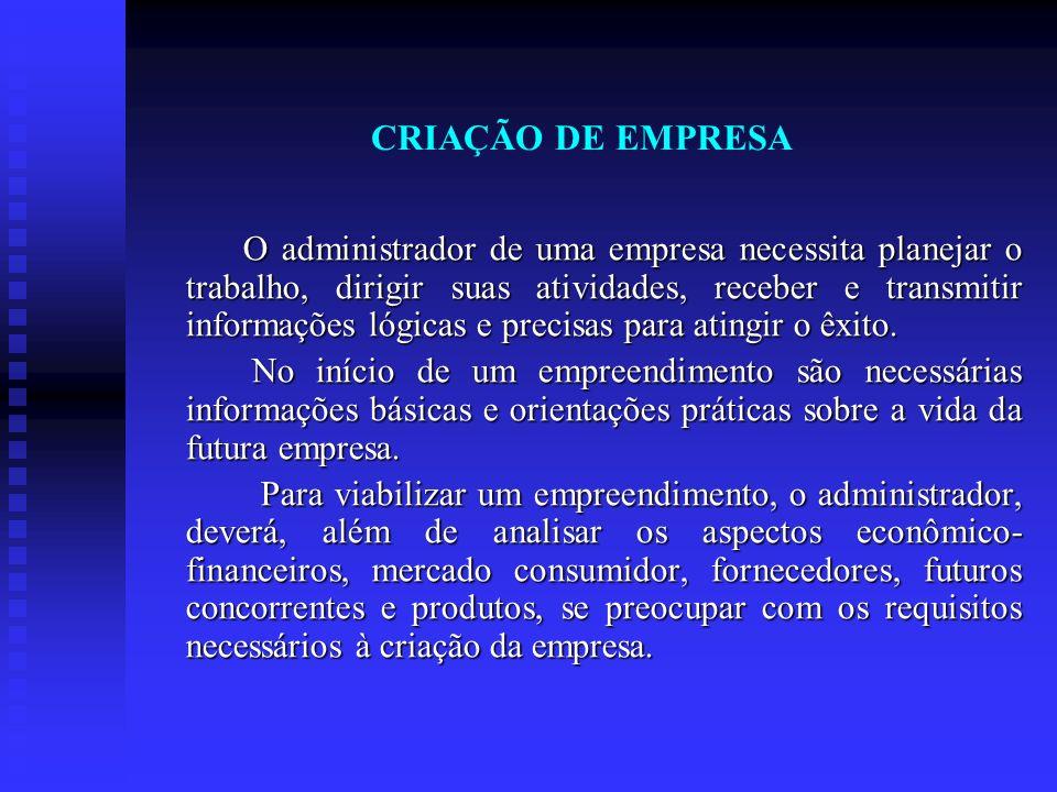 CRIAÇÃO DE EMPRESA O administrador de uma empresa necessita planejar o trabalho, dirigir suas atividades, receber e transmitir informações lógicas e p
