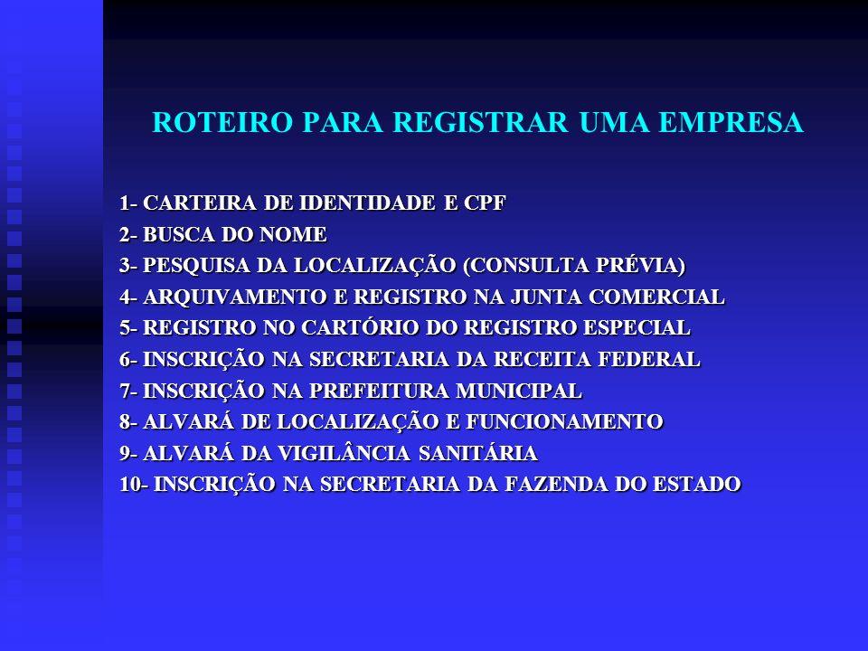 ROTEIRO PARA REGISTRAR UMA EMPRESA 1- CARTEIRA DE IDENTIDADE E CPF 2- BUSCA DO NOME 3- PESQUISA DA LOCALIZAÇÃO (CONSULTA PRÉVIA) 4- ARQUIVAMENTO E REG