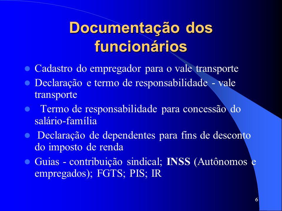5 Documentação dos funcionários Mantenha os documentos abaixo: Livro ou cartão de ponto Horário de trabalho Livro de Registro de Empregados Livro de I