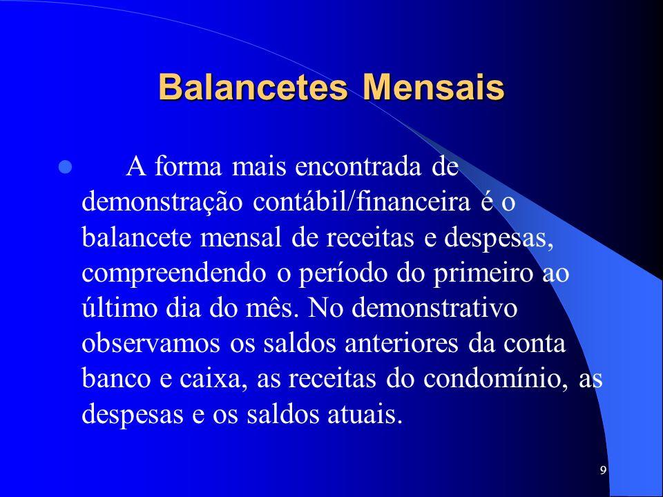 9 Balancetes Mensais A forma mais encontrada de demonstração contábil/financeira é o balancete mensal de receitas e despesas, compreendendo o período do primeiro ao último dia do mês.