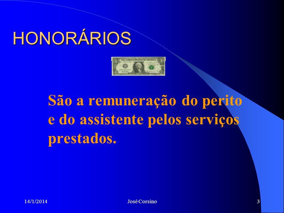 14/1/2014José Corsino3 HONORÁRIOS São a remuneração do perito e do assistente pelos serviços prestados.