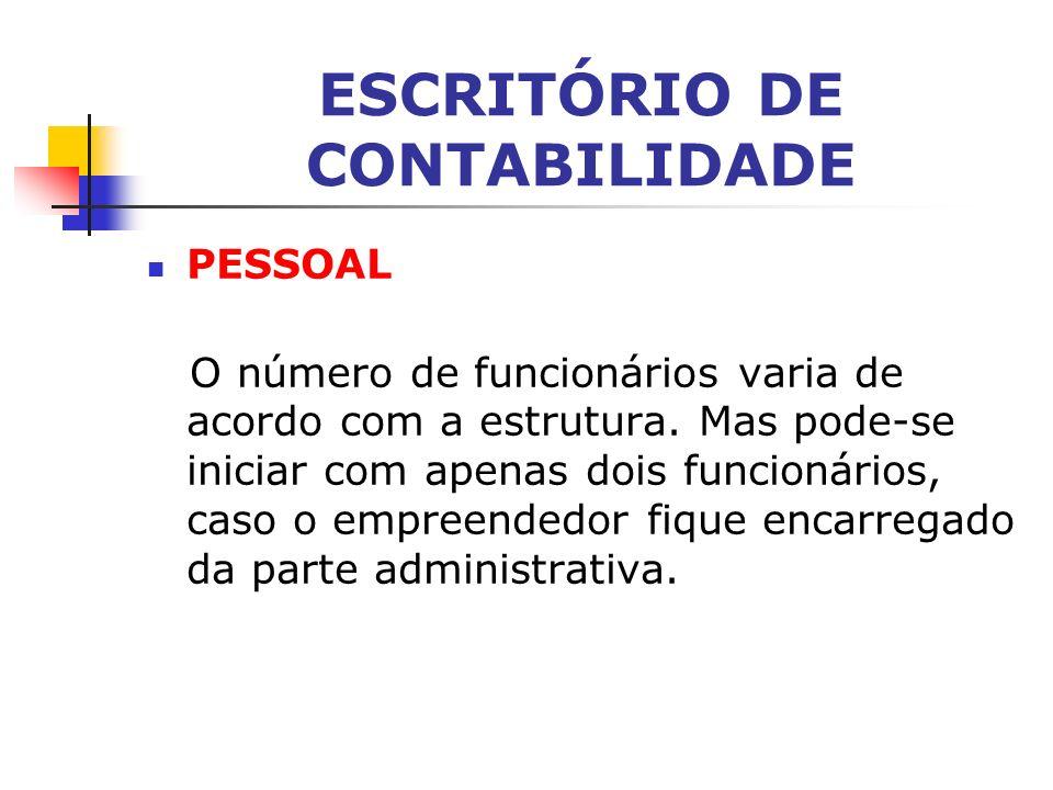 ESCRITÓRIO DE CONTABILIDADE INVESTIMENTO Varia de acordo com a estrutura a ser adotada. O aporte inicial de capital é de R$ 15 mil, em média.