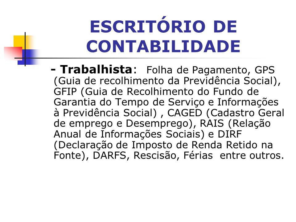 ESCRITÓRIO DE CONTABILIDADE SERVIÇOS Alguns serviços prestados por escritórios de contabilidade: - Contábil: Lucro Real, Lucro Presumido, Simples, Bal