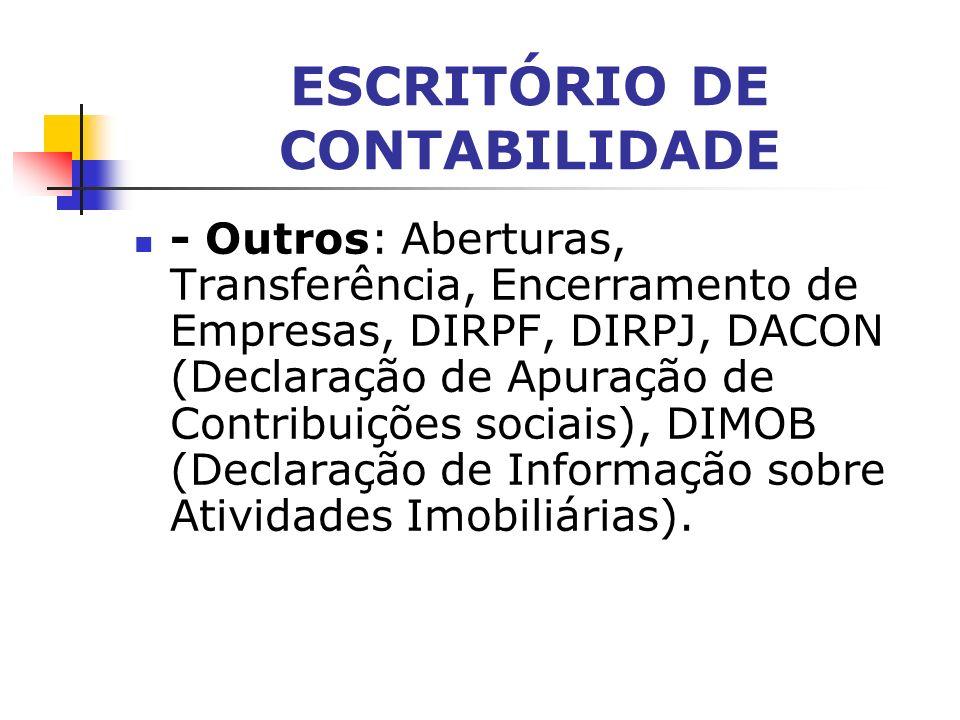 ESCRITÓRIO DE CONTABILIDADE - Trabalhista: Folha de Pagamento, GPS (Guia de recolhimento da Previdência Social), GFIP (Guia de Recolhimento do Fundo d