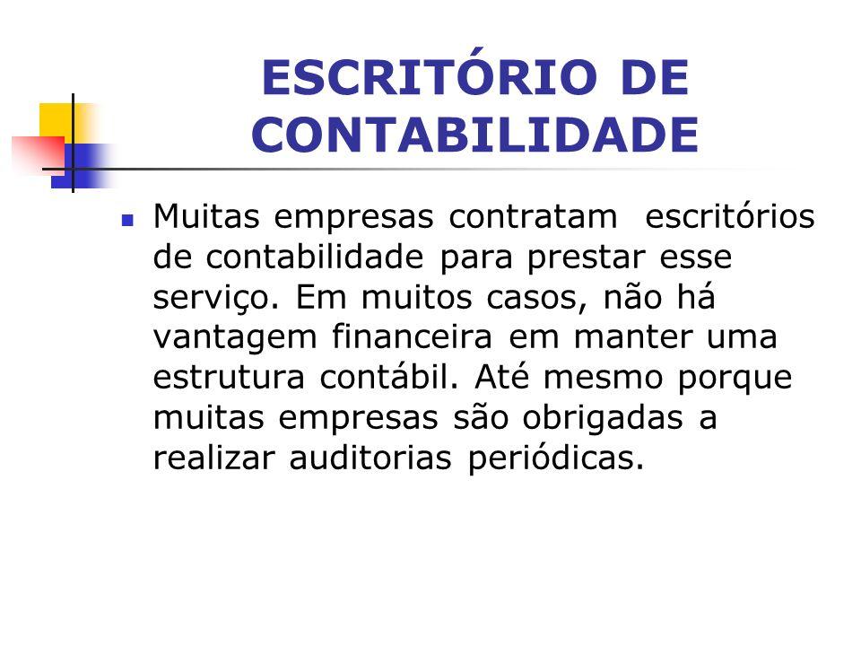ESCRITÓRIO DE CONTABILIDADE Muitas empresas contratam escritórios de contabilidade para prestar esse serviço.