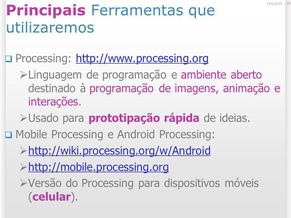 19 14/1/2014 Principais Ferramentas que utilizaremos Processing: http://www.processing.orghttp://www.processing.org Linguagem de programação e ambient