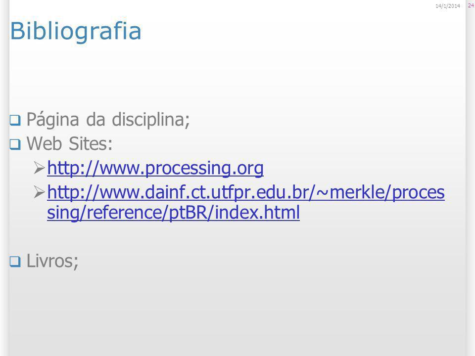 24 14/1/2014 Bibliografia Página da disciplina; Web Sites: http://www.processing.org http://www.dainf.ct.utfpr.edu.br/~merkle/proces sing/reference/pt