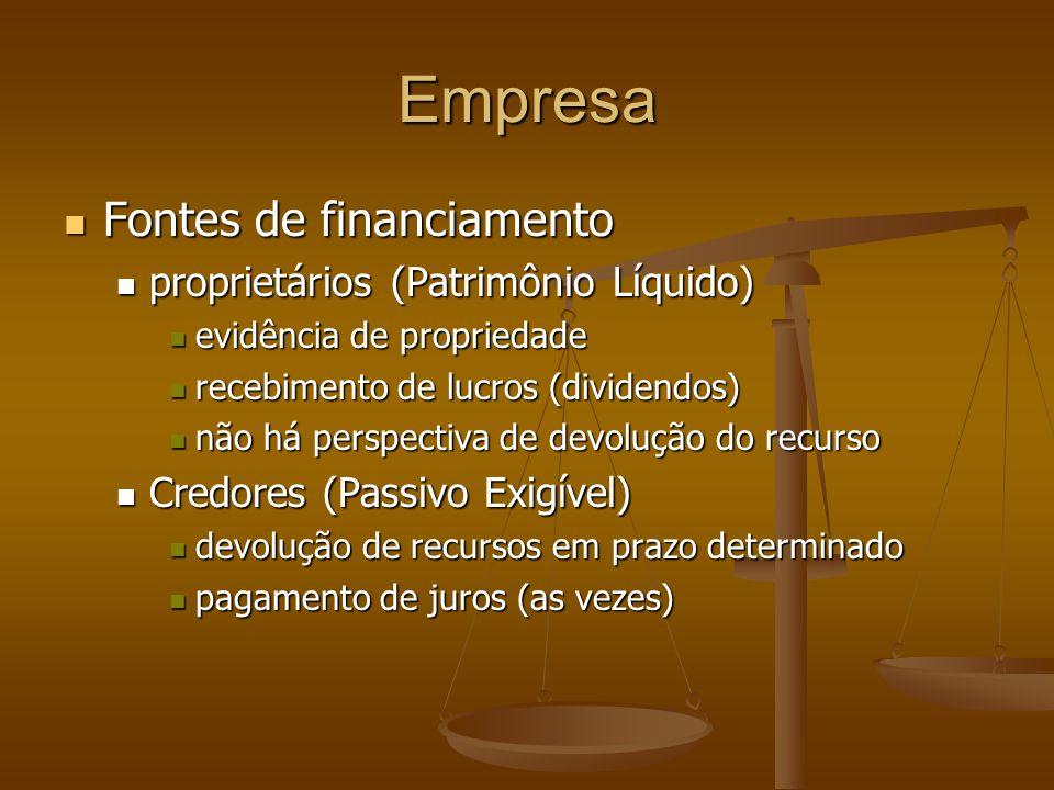 Empresa Fontes de financiamento Fontes de financiamento proprietários (Patrimônio Líquido) proprietários (Patrimônio Líquido) evidência de propriedade