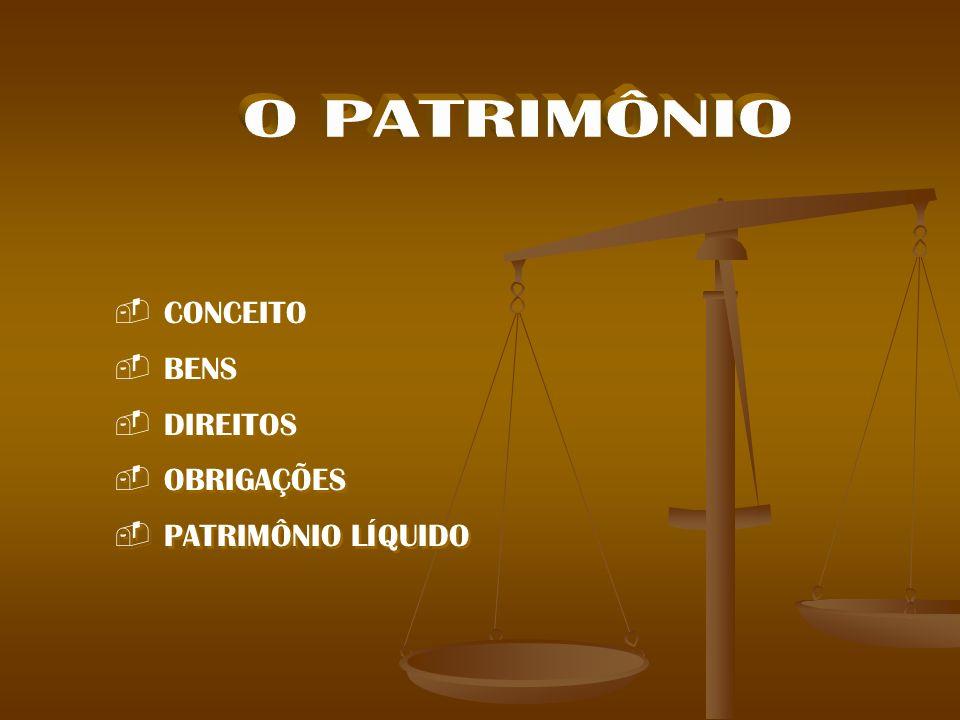 CONCEITO BENS DIREITOS OBRIGAÇÕES PATRIMÔNIO LÍQUIDO CONCEITO BENS DIREITOS OBRIGAÇÕES PATRIMÔNIO LÍQUIDO