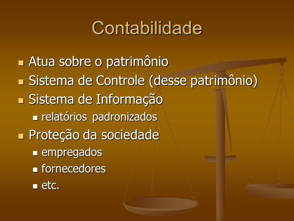 Contabilidade Atua sobre o patrimônio Atua sobre o patrimônio Sistema de Controle (desse patrimônio) Sistema de Controle (desse patrimônio) Sistema de