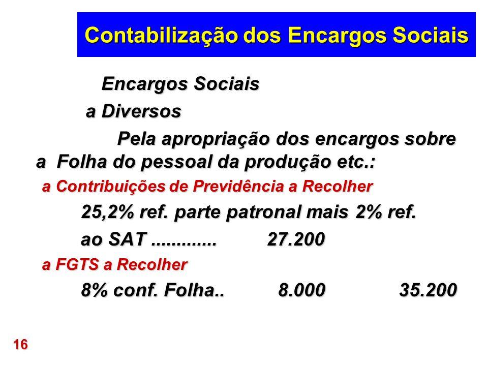 16 Contabilização dos Encargos Sociais Encargos Sociais Encargos Sociais a Diversos a Diversos Pela apropriação dos encargos sobre a Folha do pessoal