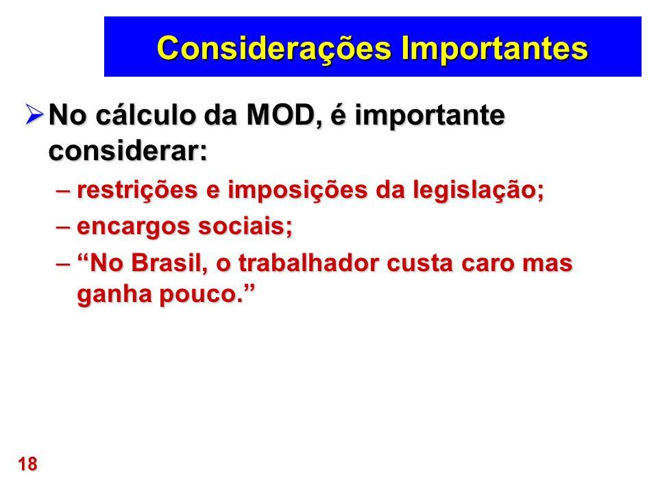 18 Considerações Importantes No cálculo da MOD, é importante considerar: No cálculo da MOD, é importante considerar: –restrições e imposições da legis