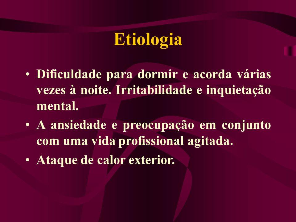 Etiologia Dificuldade para dormir e acorda várias vezes à noite. Irritabilidade e inquietação mental. A ansiedade e preocupação em conjunto com uma vi