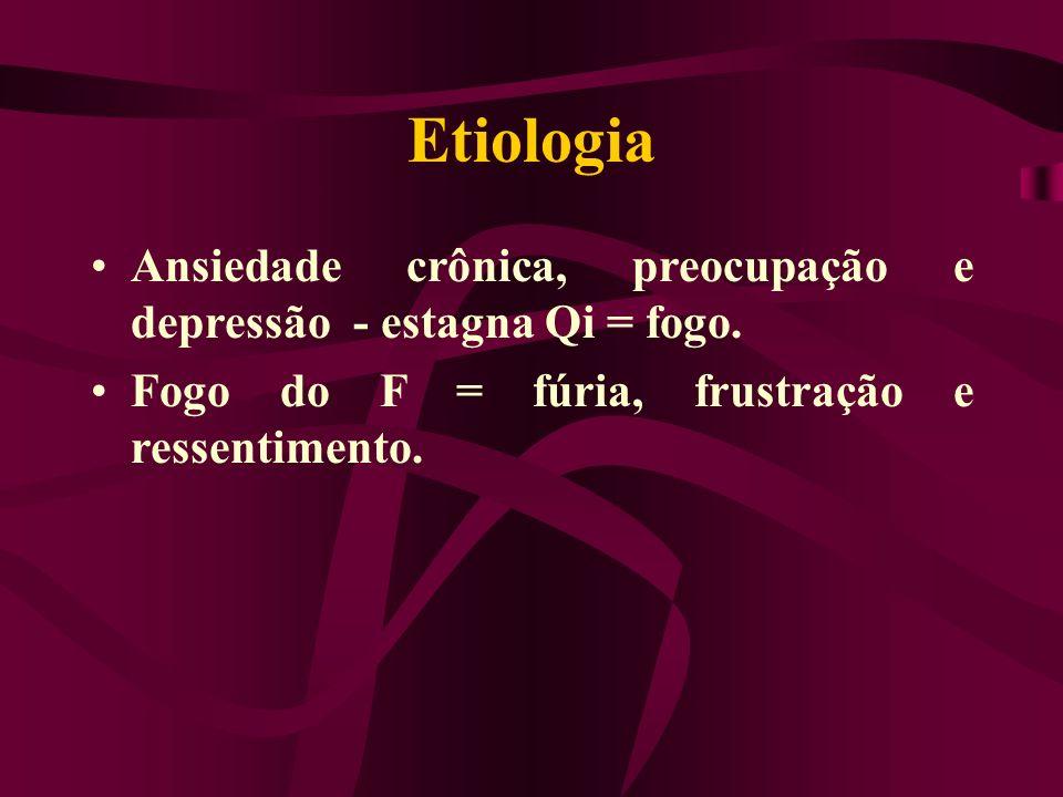 Etiologia Ansiedade crônica, preocupação e depressão - estagna Qi = fogo. Fogo do F = fúria, frustração e ressentimento.