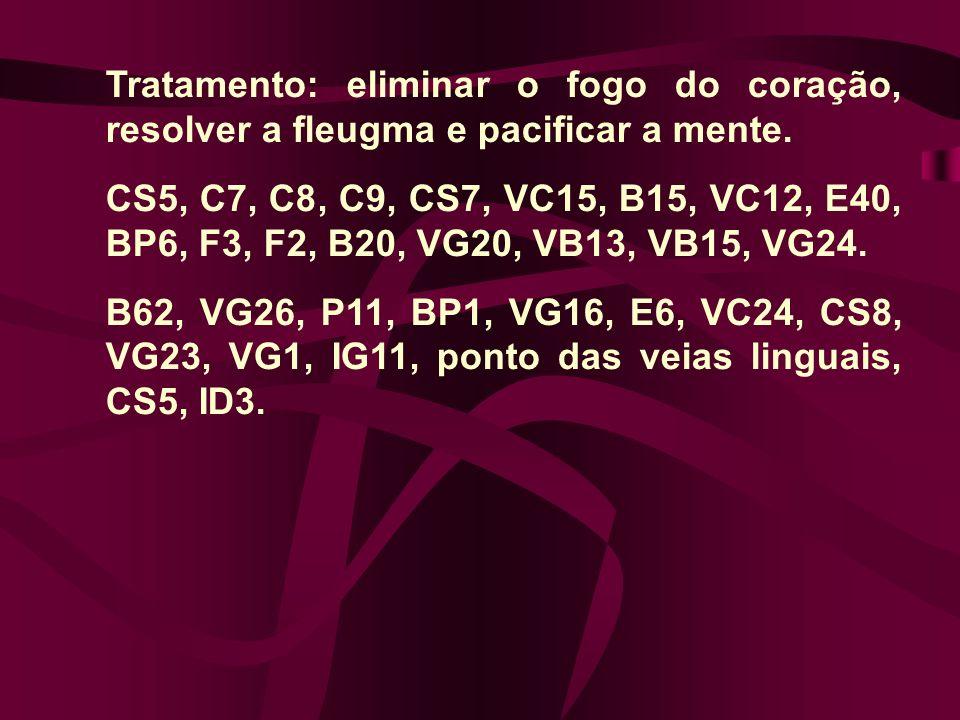 Tratamento: eliminar o fogo do coração, resolver a fleugma e pacificar a mente. CS5, C7, C8, C9, CS7, VC15, B15, VC12, E40, BP6, F3, F2, B20, VG20, VB