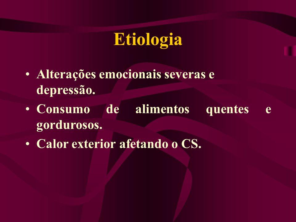 Etiologia Alterações emocionais severas e depressão. Consumo de alimentos quentes e gordurosos. Calor exterior afetando o CS.