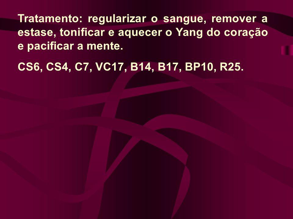 Tratamento: regularizar o sangue, remover a estase, tonificar e aquecer o Yang do coração e pacificar a mente. CS6, CS4, C7, VC17, B14, B17, BP10, R25
