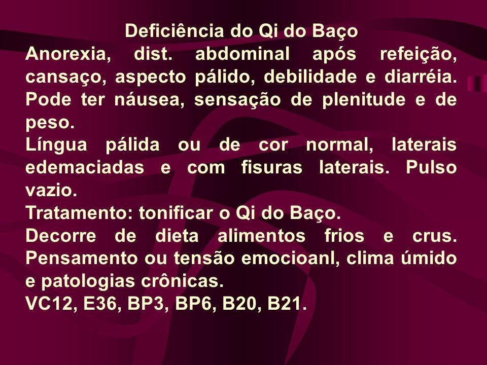Deficiência do Qi do Baço Anorexia, dist. abdominal após refeição, cansaço, aspecto pálido, debilidade e diarréia. Pode ter náusea, sensação de plenit