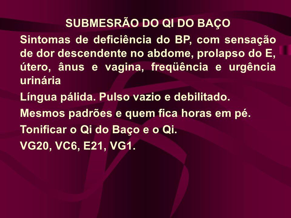 SUBMESRÃO DO QI DO BAÇO Sintomas de deficiência do BP, com sensação de dor descendente no abdome, prolapso do E, útero, ânus e vagina, freqüência e urgência urinária Língua pálida.