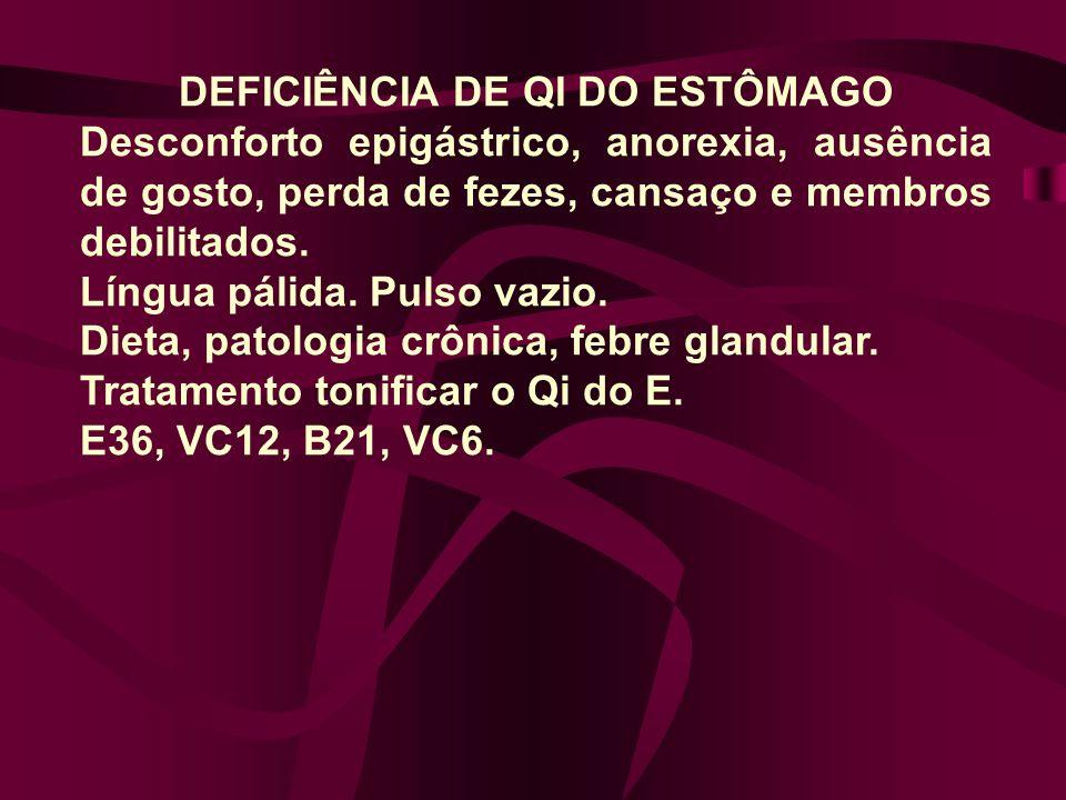 DEFICIÊNCIA DE QI DO ESTÔMAGO Desconforto epigástrico, anorexia, ausência de gosto, perda de fezes, cansaço e membros debilitados. Língua pálida. Puls
