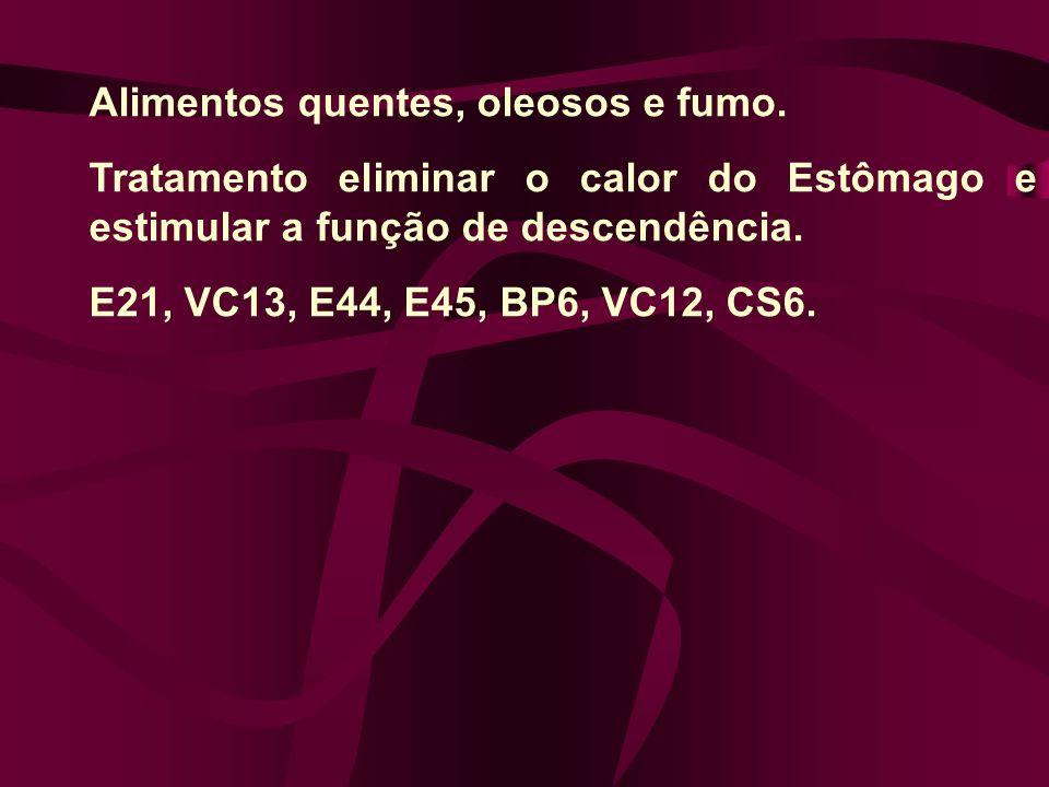 Alimentos quentes, oleosos e fumo. Tratamento eliminar o calor do Estômago e estimular a função de descendência. E21, VC13, E44, E45, BP6, VC12, CS6.