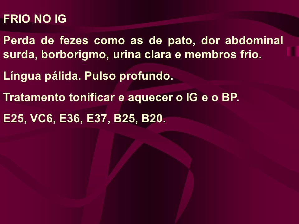 FRIO NO IG Perda de fezes como as de pato, dor abdominal surda, borborigmo, urina clara e membros frio.