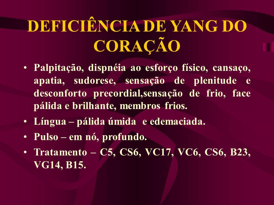 ETIOLOGIA Def de Qi do C, estagnação de Qi no tórax,. Def de Yang do R.