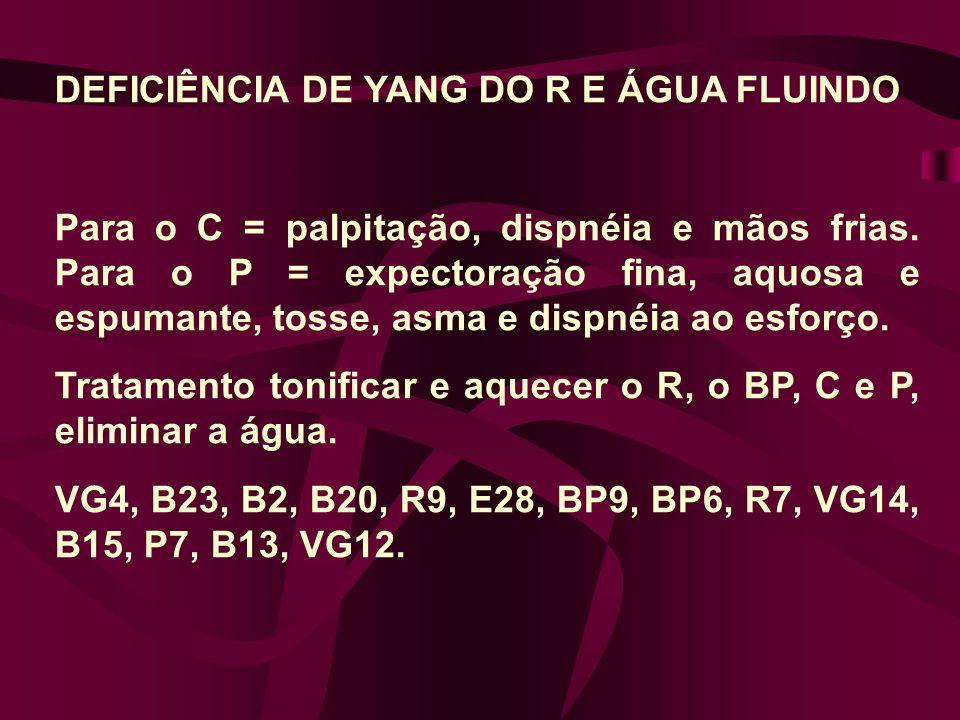 DEFICIÊNCIA DE YANG DO R E ÁGUA FLUINDO Para o C = palpitação, dispnéia e mãos frias.