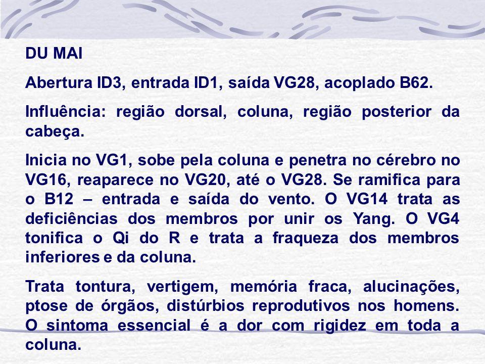 DU MAI Abertura ID3, entrada ID1, saída VG28, acoplado B62. Influência: região dorsal, coluna, região posterior da cabeça. Inicia no VG1, sobe pela co