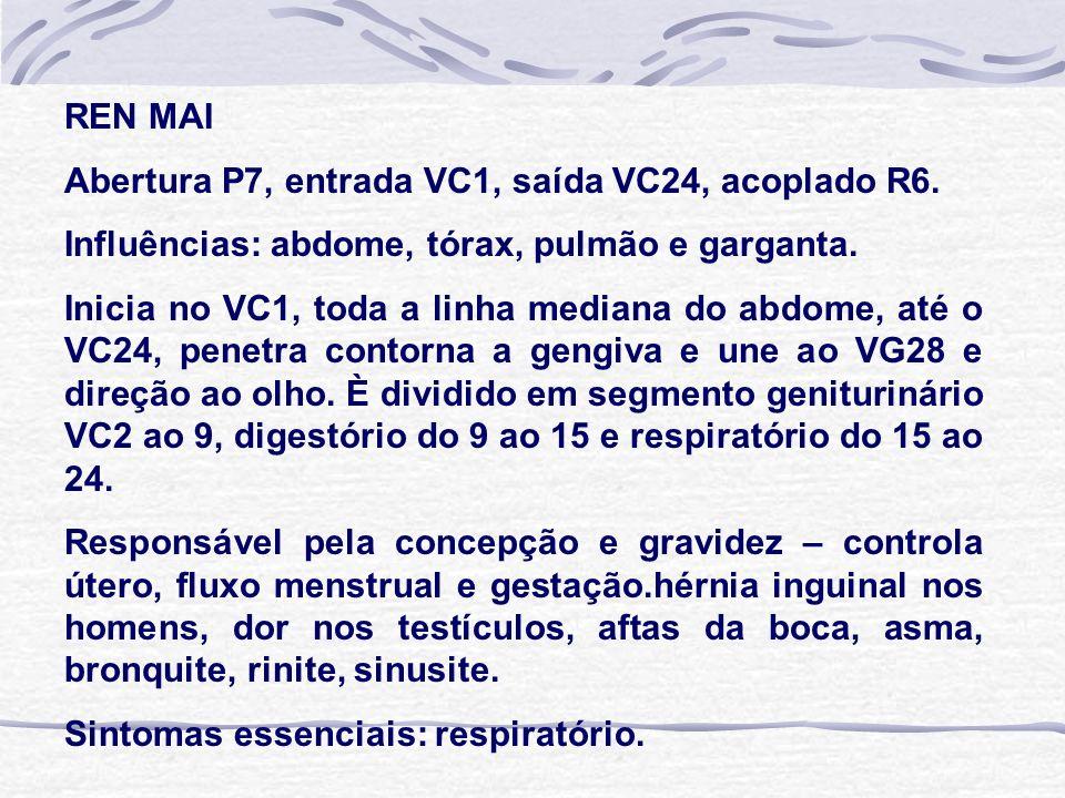 REN MAI Abertura P7, entrada VC1, saída VC24, acoplado R6. Influências: abdome, tórax, pulmão e garganta. Inicia no VC1, toda a linha mediana do abdom