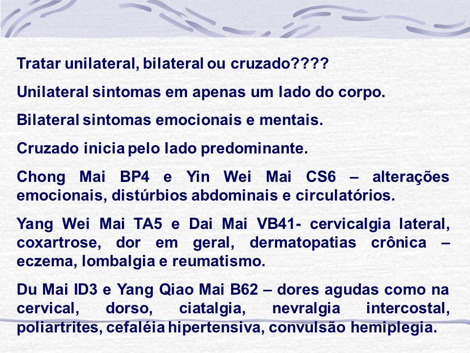 Tratar unilateral, bilateral ou cruzado???.Unilateral sintomas em apenas um lado do corpo.