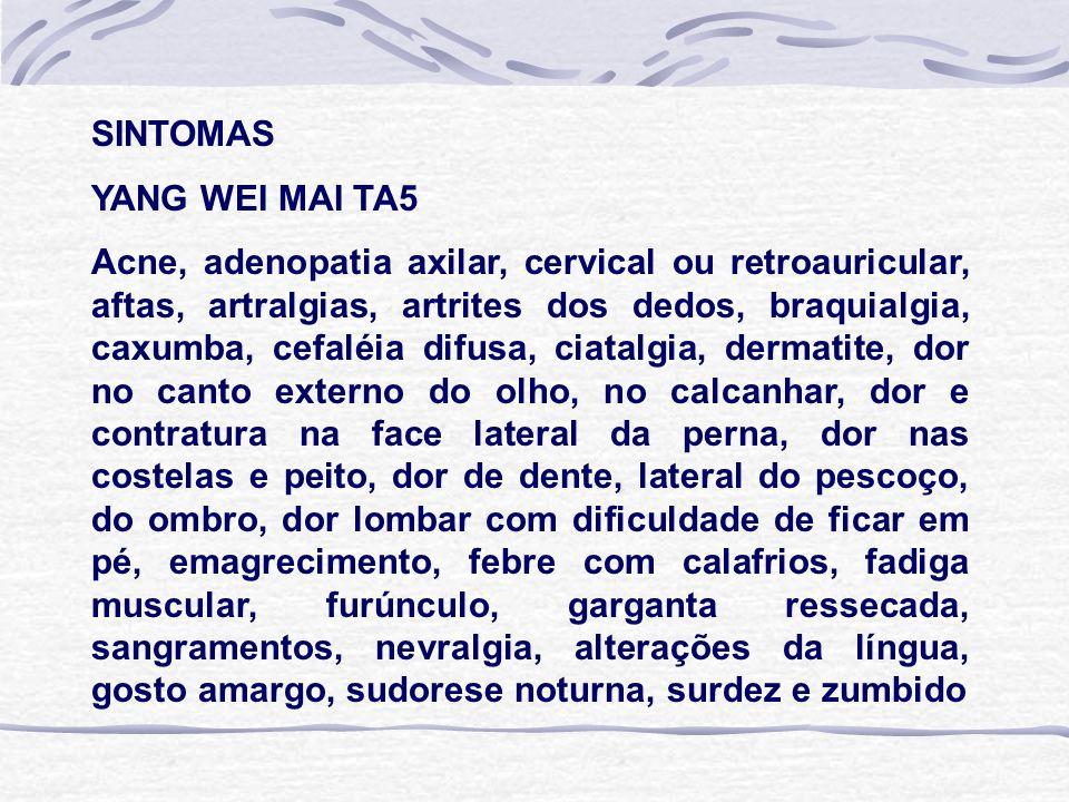 SINTOMAS YANG WEI MAI TA5 Acne, adenopatia axilar, cervical ou retroauricular, aftas, artralgias, artrites dos dedos, braquialgia, caxumba, cefaléia difusa, ciatalgia, dermatite, dor no canto externo do olho, no calcanhar, dor e contratura na face lateral da perna, dor nas costelas e peito, dor de dente, lateral do pescoço, do ombro, dor lombar com dificuldade de ficar em pé, emagrecimento, febre com calafrios, fadiga muscular, furúnculo, garganta ressecada, sangramentos, nevralgia, alterações da língua, gosto amargo, sudorese noturna, surdez e zumbido
