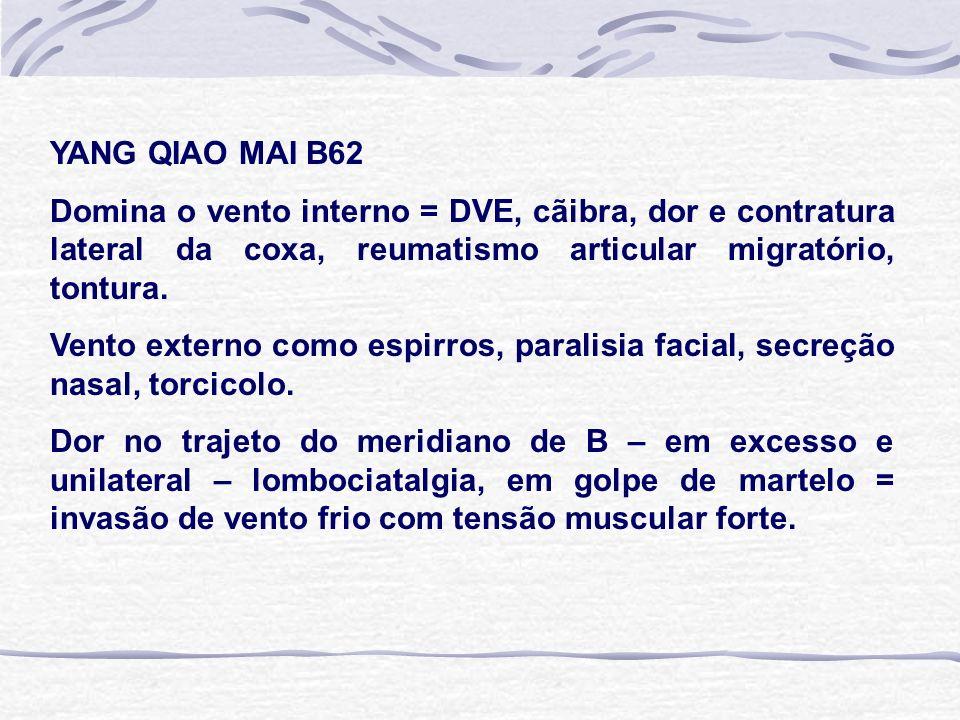 YANG QIAO MAI B62 Domina o vento interno = DVE, cãibra, dor e contratura lateral da coxa, reumatismo articular migratório, tontura. Vento externo como