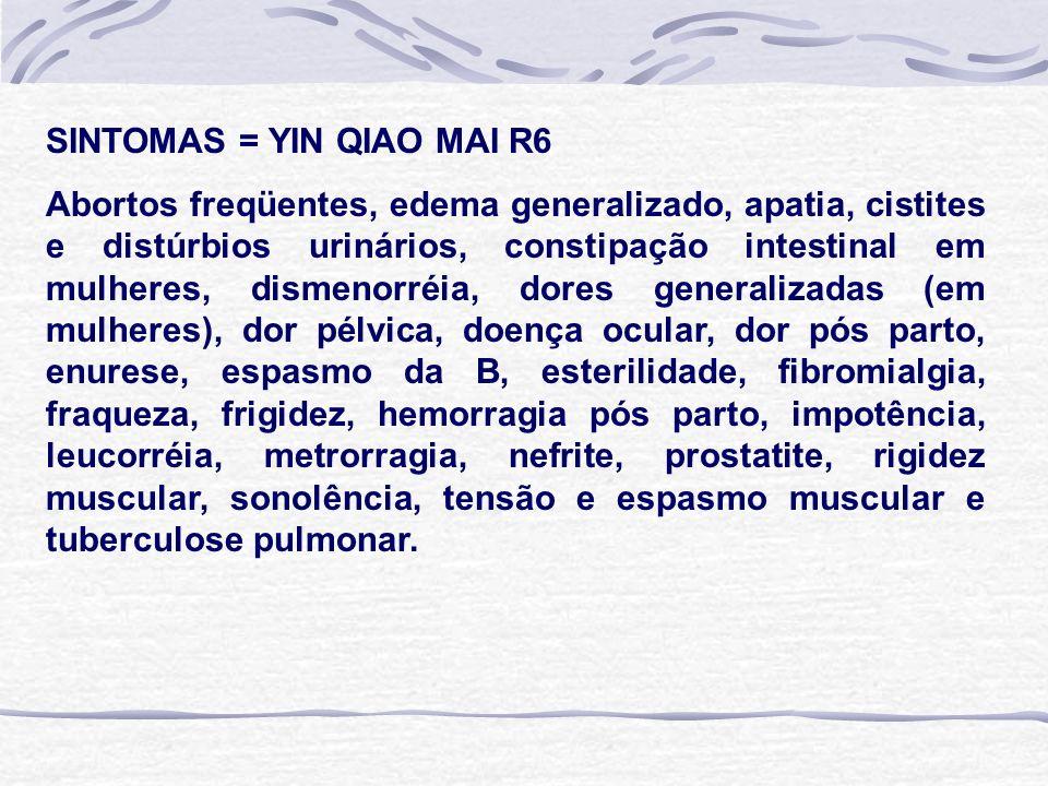 SINTOMAS = YIN QIAO MAI R6 Abortos freqüentes, edema generalizado, apatia, cistites e distúrbios urinários, constipação intestinal em mulheres, dismenorréia, dores generalizadas (em mulheres), dor pélvica, doença ocular, dor pós parto, enurese, espasmo da B, esterilidade, fibromialgia, fraqueza, frigidez, hemorragia pós parto, impotência, leucorréia, metrorragia, nefrite, prostatite, rigidez muscular, sonolência, tensão e espasmo muscular e tuberculose pulmonar.