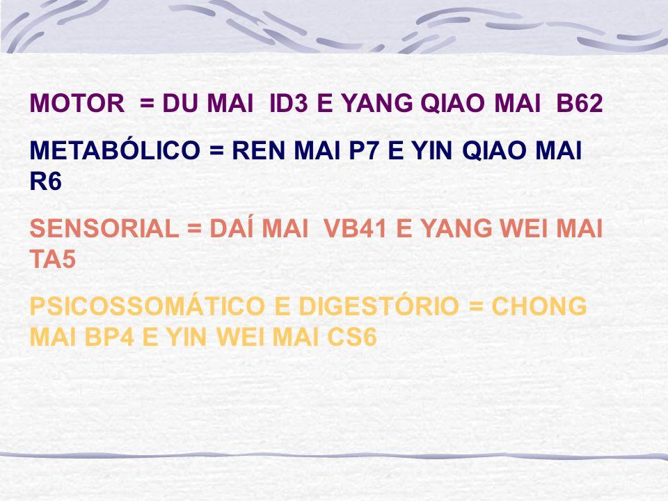 MOTOR = DU MAI ID3 E YANG QIAO MAI B62 METABÓLICO = REN MAI P7 E YIN QIAO MAI R6 SENSORIAL = DAÍ MAI VB41 E YANG WEI MAI TA5 PSICOSSOMÁTICO E DIGESTÓRIO = CHONG MAI BP4 E YIN WEI MAI CS6