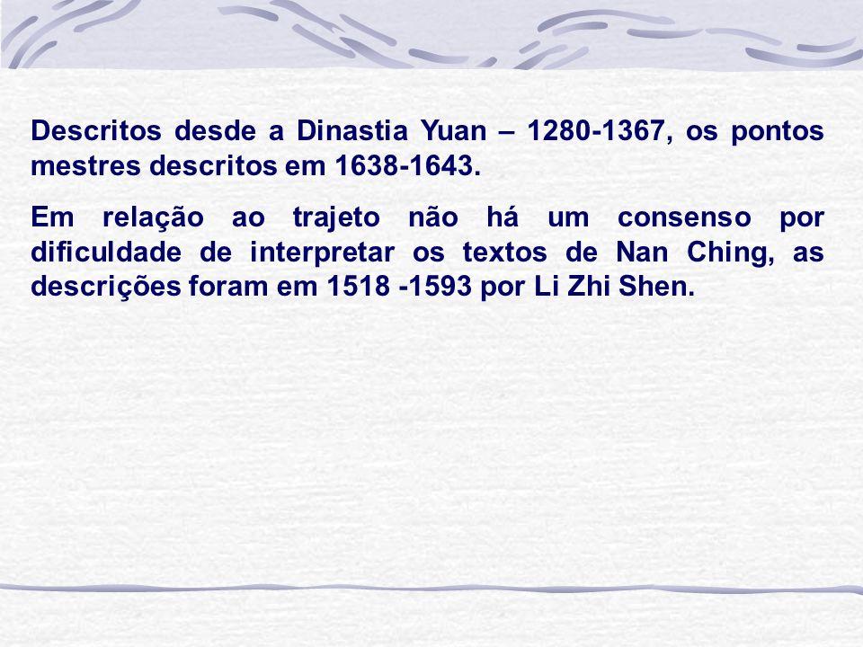Descritos desde a Dinastia Yuan – 1280-1367, os pontos mestres descritos em 1638-1643. Em relação ao trajeto não há um consenso por dificuldade de int