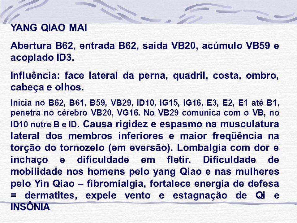 YANG QIAO MAI Abertura B62, entrada B62, saída VB20, acúmulo VB59 e acoplado ID3. Influência: face lateral da perna, quadril, costa, ombro, cabeça e o