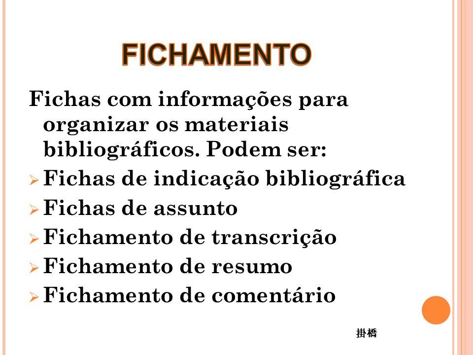 Fichas com informações para organizar os materiais bibliográficos.