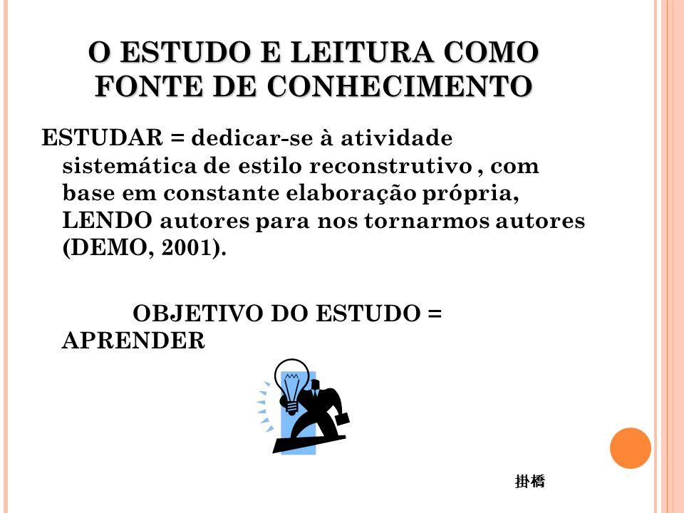 ESTUDAR = dedicar-se à atividade sistemática de estilo reconstrutivo, com base em constante elaboração própria, LENDO autores para nos tornarmos autores (DEMO, 2001).
