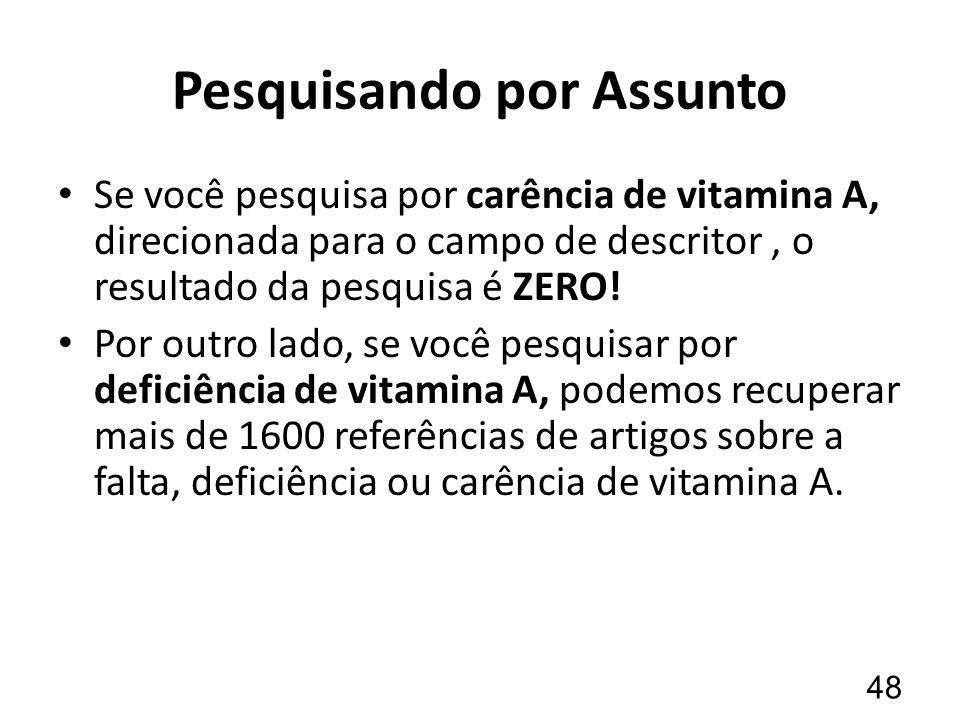 Pesquisando por Assunto Se você pesquisa por carência de vitamina A, direcionada para o campo de descritor, o resultado da pesquisa é ZERO.