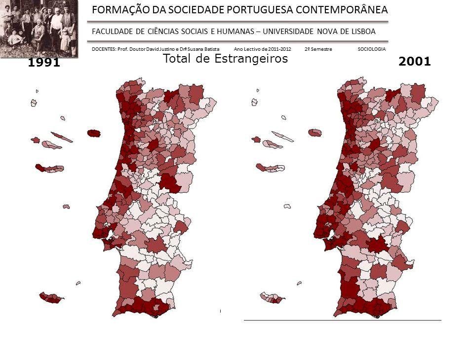 1991 Total de Estrangeiros 2001