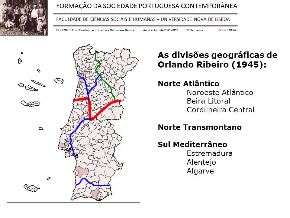 As divisões geográficas de Orlando Ribeiro (1945): Norte Atlântico Noroeste Atlântico Beira Litoral Cordilheira Central Norte Transmontano Sul Mediterrâneo Estremadura Alentejo Algarve