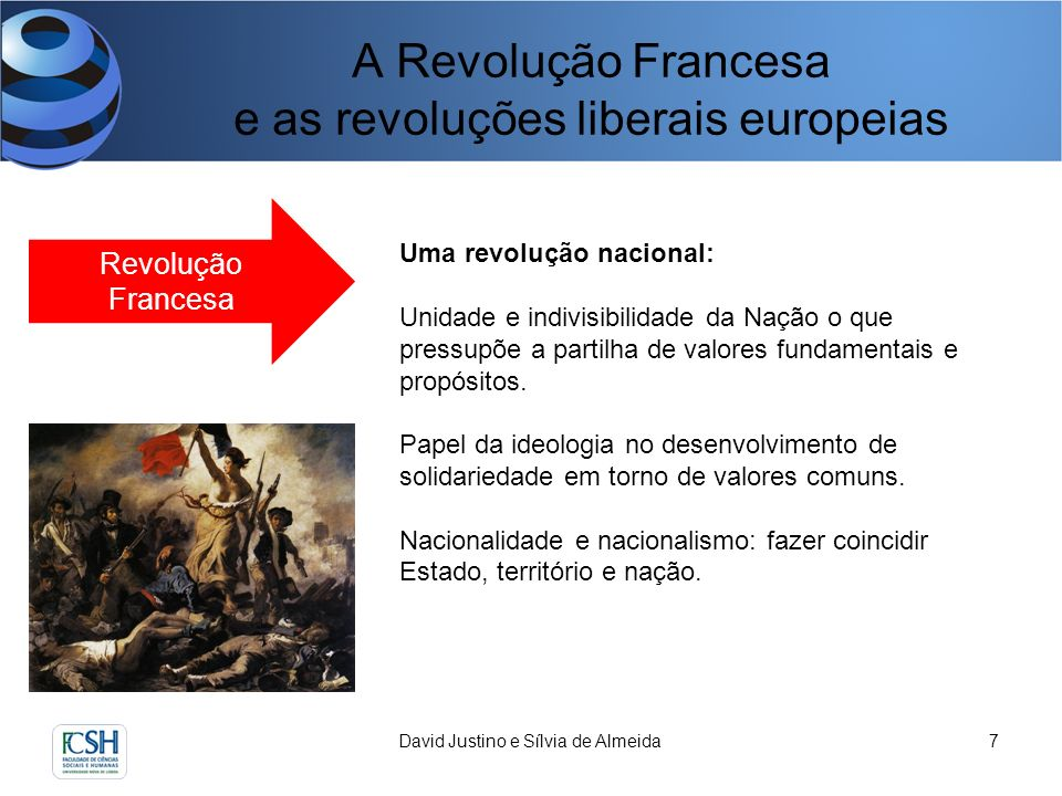A Revolução Francesa e as revoluções liberais europeias David Justino e Sílvia de Almeida8 Revolução Francesa Uma revolução estatista: Monopólio e centralidade da ação do Estado.