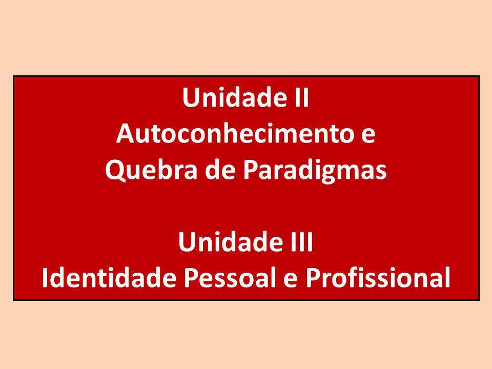 Unidade II Autoconhecimento e Quebra de Paradigmas Unidade III Identidade Pessoal e Profissional