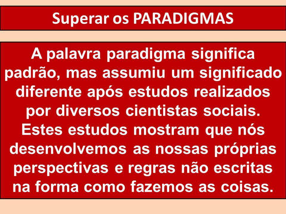 Superar os PARADIGMAS A palavra paradigma significa padrão, mas assumiu um significado diferente após estudos realizados por diversos cientistas socia