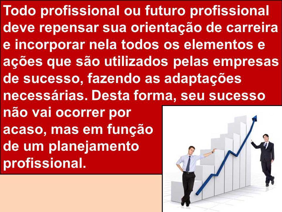 Todo profissional ou futuro profissional deve repensar sua orientação de carreira e incorporar nela todos os elementos e ações que são utilizados pela
