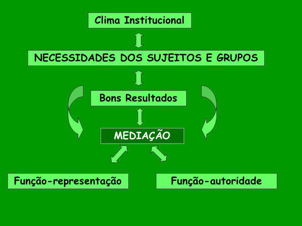 MEDIAÇÃO NECESSIDADES DOS SUJEITOS E GRUPOS Bons Resultados Clima Institucional Função-representaçãoFunção-autoridade